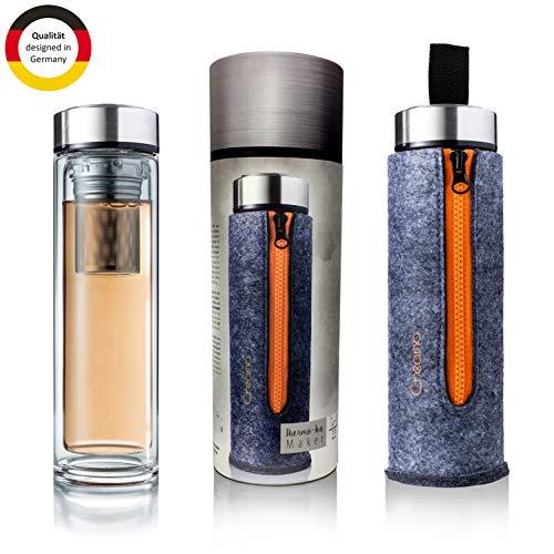 """bester Test von wasser in glasflaschen Exklusive Creano Teeflasche """"Thermo-Teamaker mit doppelwandiger Wand, Edelstahlsieb und Edelstahldeckel."""