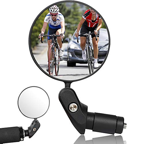 Specchietti Bici, Specchio Convesso Specchietto Retrovisore per Bicicletta 360 °Regolabile Specchio Rotante per Mountain Road Bike,Bici da Corsa sicuro per 17,4 – 22 mm per Manubrio di Bicicletta