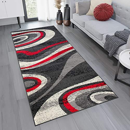 Tapiso Alfombra De Pasillo Moderna Fina - Color Gris Rojo Diseño Abstacto Ondulado - Colección Fiesta 70 x 300 cm