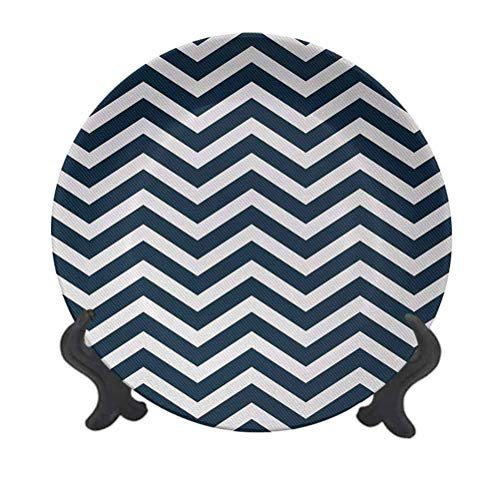 SfeatrutMAT 8' Navy Ceramic Plate,Zigzag Chevron Geometrical Design Lines Sea Waves Inspired Artwork Print Creative Decorative Plate for Party Kitchen Navy Blue and White