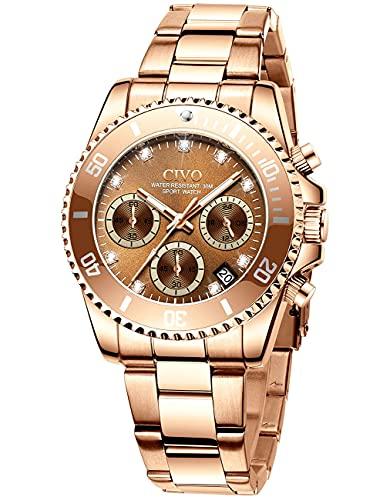 CIVO Uhr Damen Chronograph Wasserdicht Quarz Armbanduhren Damen Modisch Elegant Sternenhimmel Diamant Zifferblatt Analog Quarz Uhr mit Roségold Edelstahl Armband