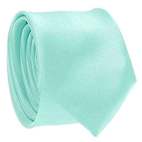 Cravate Fine Vert d'eau - Cravate Homme Coupe Slim Moderne - 5cm à la Pointe - Couleur Unie - Accessoire Chemise pour Mariage, Cérémonie