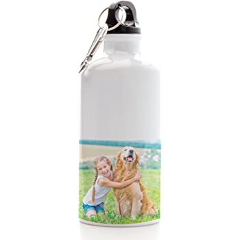 Fashion Graphic Borraccia Bottiglia Alluminio Doppio Tappo 600ml Personalizzata Personalizzabile con Nome Silver