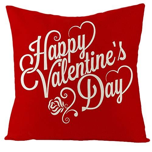 PLIENG Fodere per Cuscini 18x18 Pollici Fodere per Cuscini Decorativi in Lino di Cotone con Cuore Rosso di San Valentino Federe per Divano,5