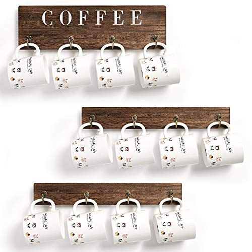 Rainbright Wall Mounted Coffee Mug Holder Wood Rustic Cup Organizer with 12 Hooks for HomeKitchen Display StorageCollection andCoffee Nook Decor