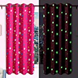 """ASAB 220 GSM Glow In The Dark Blackout Curtains Pair Panels For Childrens Kids Bedroom With Chrome Silver Ring Top Eyelets - Fuchsia Pink Star - 66"""" x 72"""""""