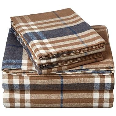 Pinzon 160 Gram Plaid Flannel Sheet Set - King, Brown Plaid