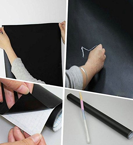 """EachWell DIY Vinyl Chalkboard Removable Blackboard Wall Sticker Decal 18 x 79 """" with 5 Free Chalks for Home Office"""
