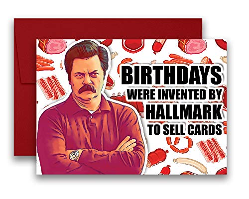 Ron Swanson Parks and Recreation Birthday Card Meat Tornado 5x7 inches w/Envelope