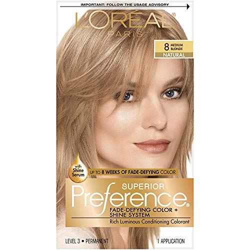 L'Oreal Paris Superior Preference Fade-Defying + Shine Permanent Hair Color, 8 Medium Blonde, Pack of 1, Hair Dye