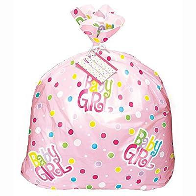 "Unique Jumbo Plastic Pink Polka Dot Girl Baby Shower Gift Bag, Multicolor, 44"" x 36"" - 61865"