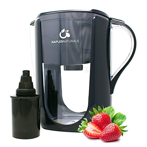 Naples Naturals 108X1 Alkaline Water Filter Pitcher - Removes Chlorine and Contaminants Plus Increases pH (Black)