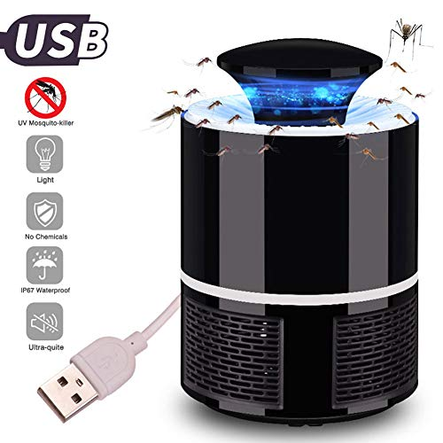 LED Mosquito Killer Lamp USB Powered, Super Quiet Electronic Killing Zapper, Chemical-Free Mosquito Inhaler,Bug Insect Trap Fly Repeller,Photocatalyst UV Light for Indoor Office Home[Black]