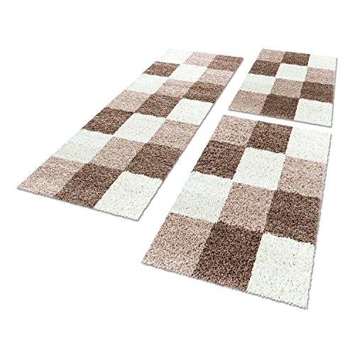 Bettumrandungen 3 tlg. Läufer-Set kariert designer Hochflor Shaggy Teppiche 1501, Farbe:Türkis, Maße:2mal 80x150 1mal 80x250