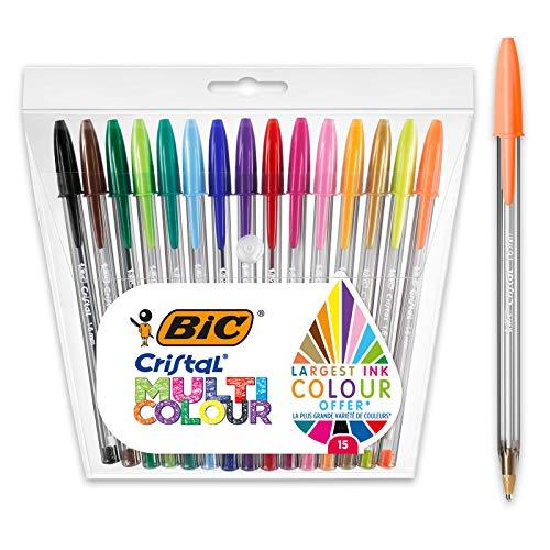 BIC Cristal - Penne a sfera multicolore, colori assortiti, confezione da 15, punta larga (1,6 mm), per scrivere e molto altro ancora