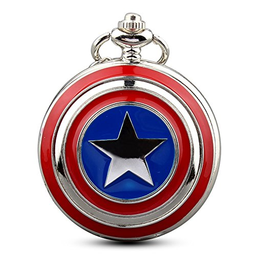 Mens Five-Pointed Star America Pocket Watch Quartz Movement Steampunk Fob Watches for Man Gifts