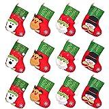 "DearHouse12pcs Mini Christmas Stockings, 6"" 3D Xmas Stocking Christmas Tree Ornaments Decorations - Santa Claus Snowman Reindeer Gift Card Silverware Holders"