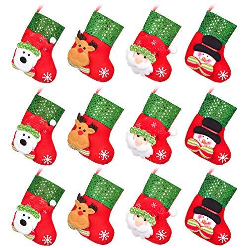 DearHouse12pcs Mini Christmas Stockings, 6' 3D Xmas Stocking Christmas Tree Ornaments Decorations - Santa Claus Snowman Reindeer Gift Card Silverware Holders