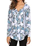 Women's Paisley Printed Long Sleeve Henley V Neck Pleated Casual Flare Tunic Blouse Shirt Green 3X