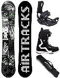 Set de snowboard de AIRTRACKS, con tabla flat rocker Stripes Wide, fijación Savage, botas y bolsa de transporte SB, de 150, 155, 160 y 165 cm, Boots Strong 45