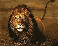 油絵 数字キットによる絵画 絵 デジタル油絵 ギリビングと寝室 40x50センチ フレームレス荒野のライオン