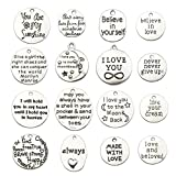 100g About 32pcs Inspiration Words Charms Craft Supplies Mixed Pendants Beads Charms Pendants for Crafting, Jewelry Findings Making Accessory for DIY Necklace Bracelet (M033)