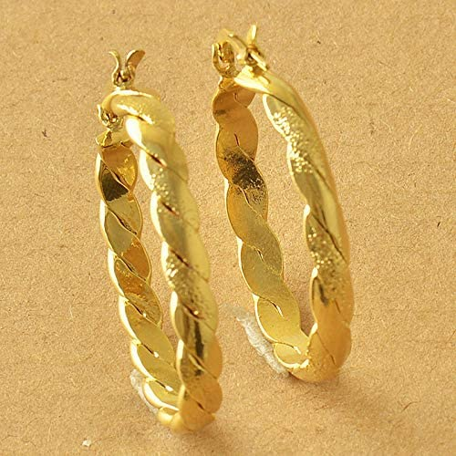 Awesome New 9K Solid Yellow Gold Filled 1.25'' Oval Braided Twist Hoop Earrings