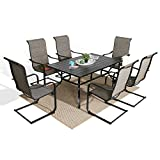 Iwicker 7 Pieces Patio Dining Furniture Set with 6 High Back Cotton-Padded C Spring Motion Sling Chairs and 1 Outdoor Dining Rectangular Steel Umbrella Table