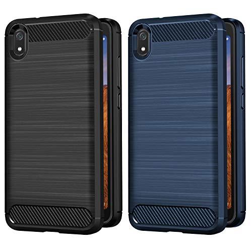 VGUARD [2 Stücke] Hülle Kompatibel für Xiaomi Redmi 7A, Carbon Faser Hülle Tasche Schutzhülle mit Stoßdämpfung Soft Flex TPU Silikon Handyhülle - (Schwarz+Blau)