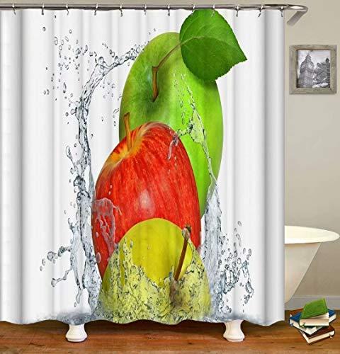 ZZZdz Grüner Apfel. Roter Apfel. Gelber Apfel. Duschvorhang: 180 X 180 cm. Wasserdichter Stoffteppich Für Duschvorhang. Bad Duschvorhang Set Polyesterfaser Bad Duschvorhang.