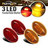 Partsam 2X Amber + 2X Red Side Fender Marker Assembly Replacement for Ford F350 F450 F550 ...