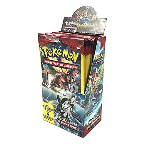 Cartas Pokémon Sol y Luna Invasión Carmesí Caja de 24 Sobres, Juego de Cartas Coleccionables Pokémon Serie Sol y Luna Invasión Carmesí, Cartas Pokémon en Castellano (Cada sobre Contiene 3 Cartas)