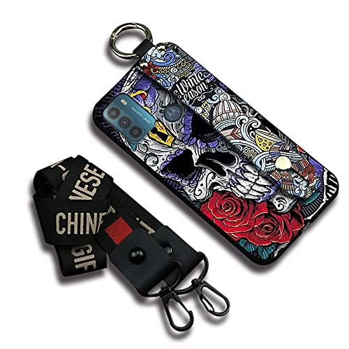 Funda para teléfono móvil Lulumi resistente a la suciedad compatible con Moto G50, correa de silicona protectora impermeable diseño para mujer, diseño de calavera de esqueleto púrpura