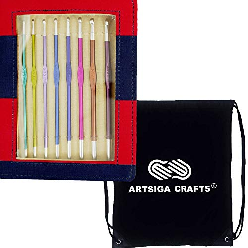 Knitter's Pride Knitting Needles Zing Single Ended Crochet Hooks Set-Size 2.75mm to J/6mm Bundle with 1 Artsiga Crafts Project Bag