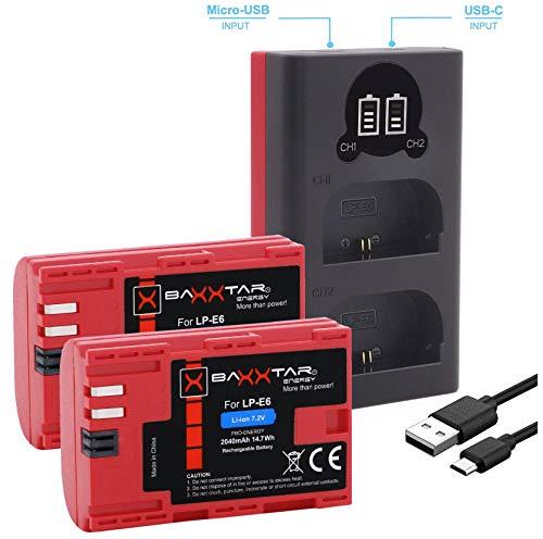 Baxxtar Pro (2X) Ersatz für Akku Canon LP-E6 - Baxxtar Mini 18602 LCD DUAL Ladegerät (Eingang USB-C und MicroUSB)