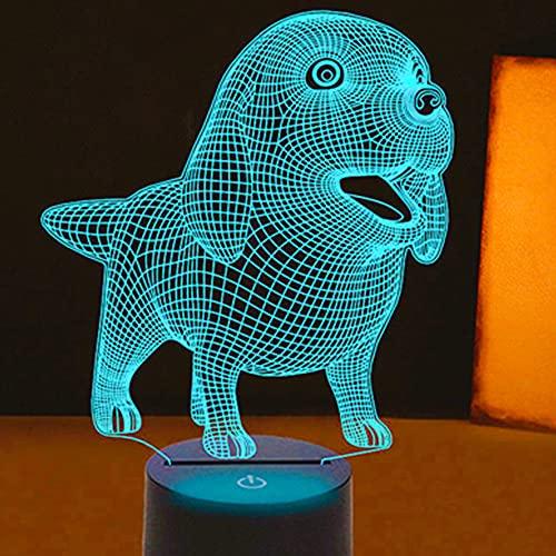 Jinson well Lámpara 3D con ilusión óptica de luz nocturna, 7 cambios de color, interruptor táctil, mesa de escritorio, lámpara decorativa con base acrílica plana USB, juguete