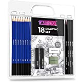 Artisto Drawing and Sketching Pencil Art Set (18 Items), Perfect for Beginners, Kids or Any Aspiring Artist, Includes Graphite Pencils and Sticks, Charcoal Pencils, Erasers and Sharpeners