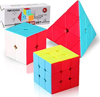 Speed Cube Set,Roxenda Professional 2x2x2 3x3x3 Pyramid Cube Bundle - Easy Turning and Smooth Play - Solid Durable and Stickerless Frosted - Turns Quicker Than Original