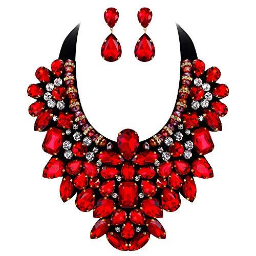 EVER FAITH Juegos de Joyas para Mujer Cristal Austríaco Retro para Banquete Fiesta Tono Collares Pendientes Conjunto Rojo Tono Dorado
