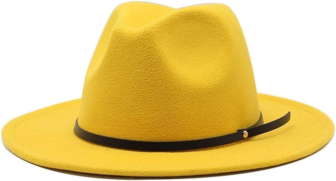 Women Wool Vintage Trilby Felt Fedora Hat Wide Brim Elegant Lady Autumn Jazz Cap