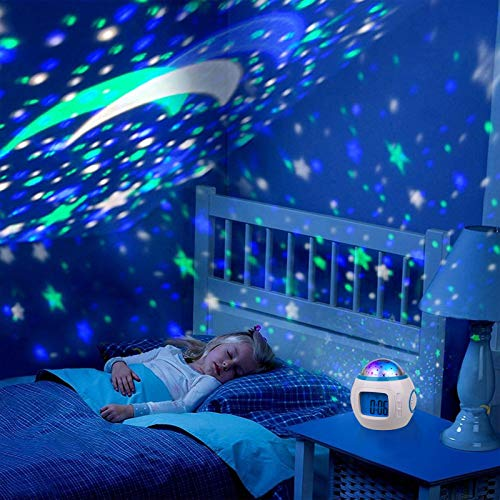Kids Alarm Clock, 7 Color Night Light, Snooze, Digital Alarm Clock Temperature Detect for Toddler, Children Boys and Girls, Students to Wake up at Bedroom, Bedside, Batteries Operated