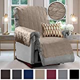 Gorilla Grip Original Velvet Slip Resistant Luxury Recliner Slipcover Protector, Seat Width Up to 26 Inch Patent Pending, 2 Inch Straps, Hook, Furniture Cover for Pets, Dogs, Kids, Recliner, Beige