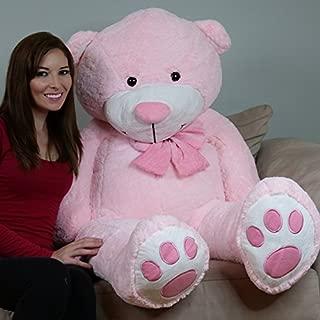 YESBEARS 5 Foot Giant Teddy Bear Plush Pink ( Microfiber Bowtie )