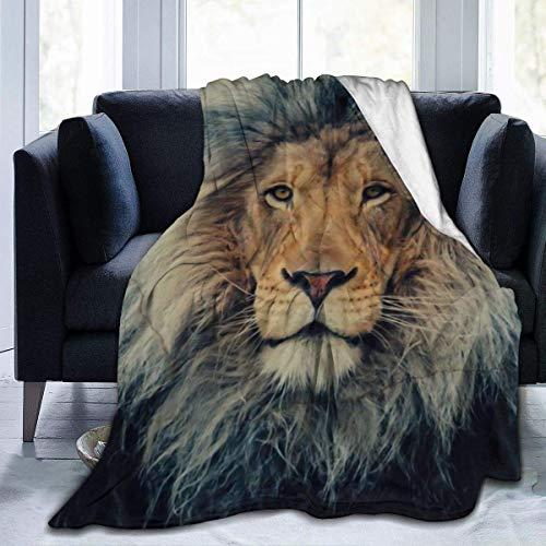 SONGQIU Manta de franela de felpa, diseño de león y vida silvestre de gato grande, depredador, cara de animal para un mejor trabajo relajante