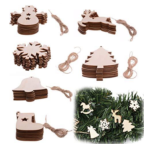 TheStriven 60 Stück DIY Weihnachtsdekoration Holz Scheiben Weihnachtsdeko Holz Anhänger Weihnachtsbaum Schmuck Christbaumschmuck Handwerkliche Verzierungen für Weihnachten Christbaum Schmuck