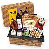 Geschenkkorb 'Olé' mit spanischen Delikatessen | Präsentkorb gefüllt mit ausgesuchten Tapas-Klassikern & Rotwein aus Spanien