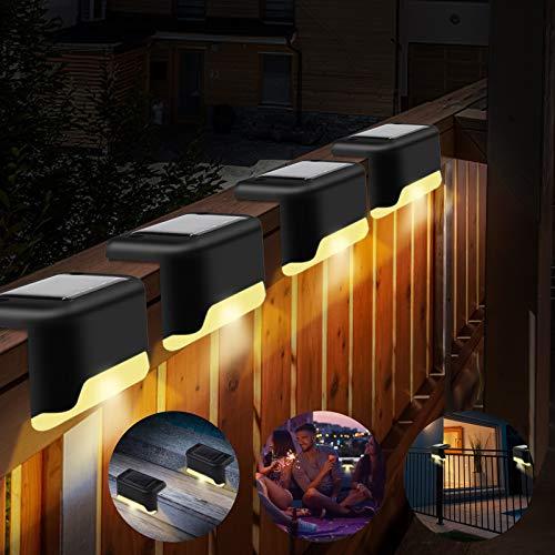 OVAREO Solarleuchte Garten,Solar Zaun Beleuchtung,Solares Stufenlicht, Terrassenleuchten, Zaunleuchten Außenlicht,Wasserdichte IP55, für Treppen, Terrasse, Stufe und Zäune, Warmweiß