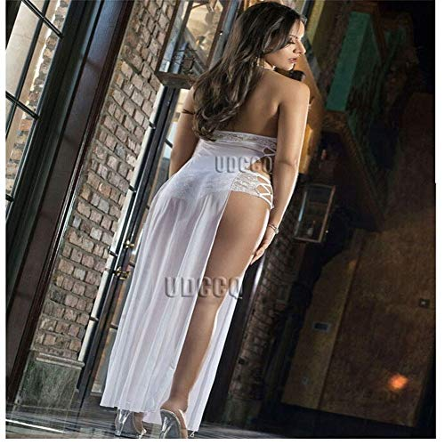 ZANGAO Sexy Lace Long Dressing nachtjapon Sheer doorzichtige jurk Avond Nightgown Nightie Sleepwear Lingerie (Color : White)