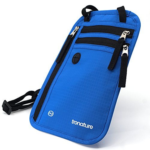 Tronature® Brusttasche mit RFID Schutz Blau - Herren & Damen Travel Wallet für Reisepass, iPhone - Wasserabweisend und flach - Umhänge Brustgeldbeutel versteckt - Reise Zubehör, Bauchtasche Organizer