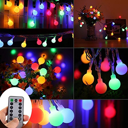 WERTIOO 33ft 100 LEDs Battery Operated String Lights Colorful Globe Fairy Lights with Remote Control for Outdoor/Indoor Bedroom,Garden,Christmas Tree[8 Modes,Timer ] (Multicolor)
